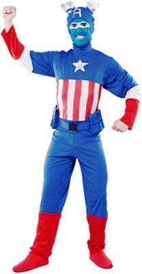 2019 Moda Carnevale Halloween Vestito Capitan Azul Capitan America Adulto Tg Unica Uomo Fabbricazione Abile