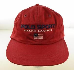 Vintage 90s POLO SPORT Ralph Lauren USA Flag Red 100% Cotton Cap Hat ... 98bd7e1dc14