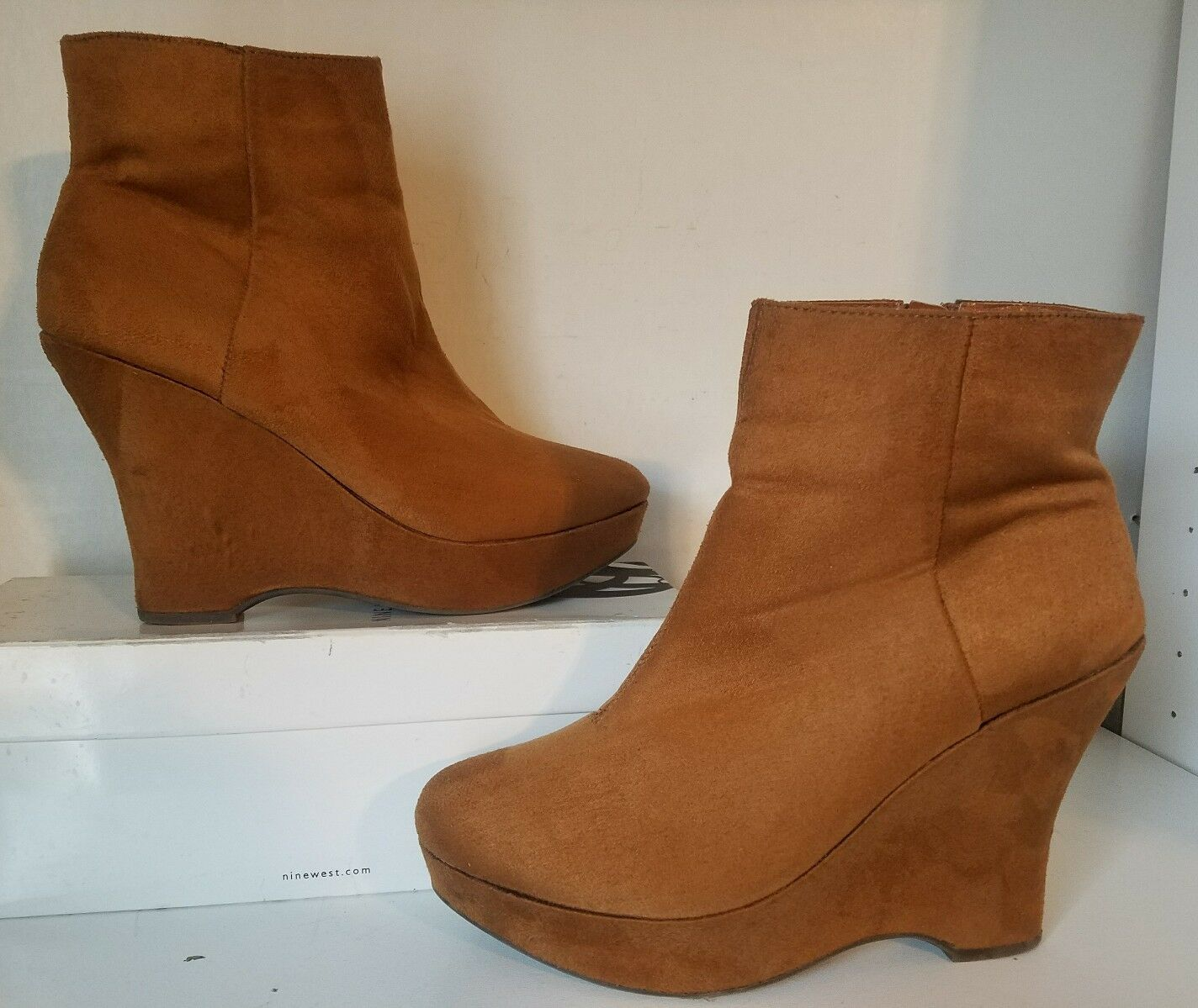 """Diba Suede Diba East Liza Wedge Boots """"Whisky Color"""" Women Size 9M"""