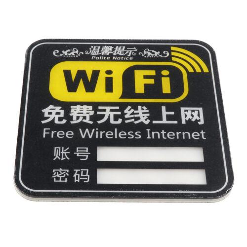Acrylic WiFi Sign Plaque WiFi Sticker Sign Free Internet Sign 10×10cm Black