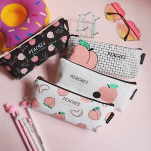 Cute Peach Makeup Bag Pencil Case Canvas Stationery Bag Pouch School Gift Newly