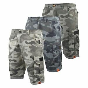 1d41133a8c Image is loading Mens-Crosshatch-Chinos-Camo-Cargo-Shorts-Jeans-Combat-