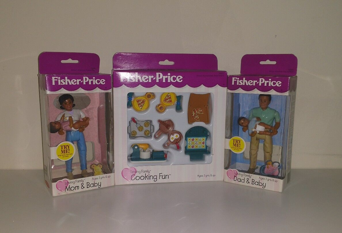 Fisher Price Loving Family AA African American Mamma Pappa bebis  Cooking Set 1999 NY