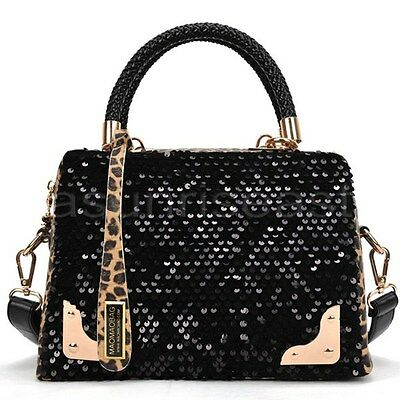 Lady Sequin Leopard Boston Bags Travel Shoulder Crossbody Bag Handbag Tote Purse