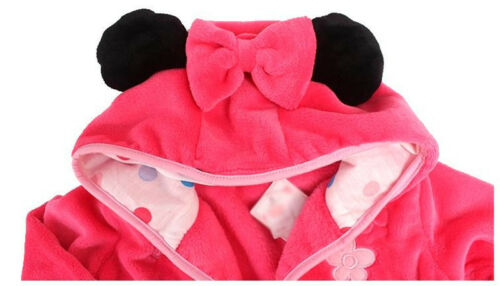 Baby Kid Boy Girl Winter Warm Pajamas Hooded Bath Robe Sleepwear Dressing Gown