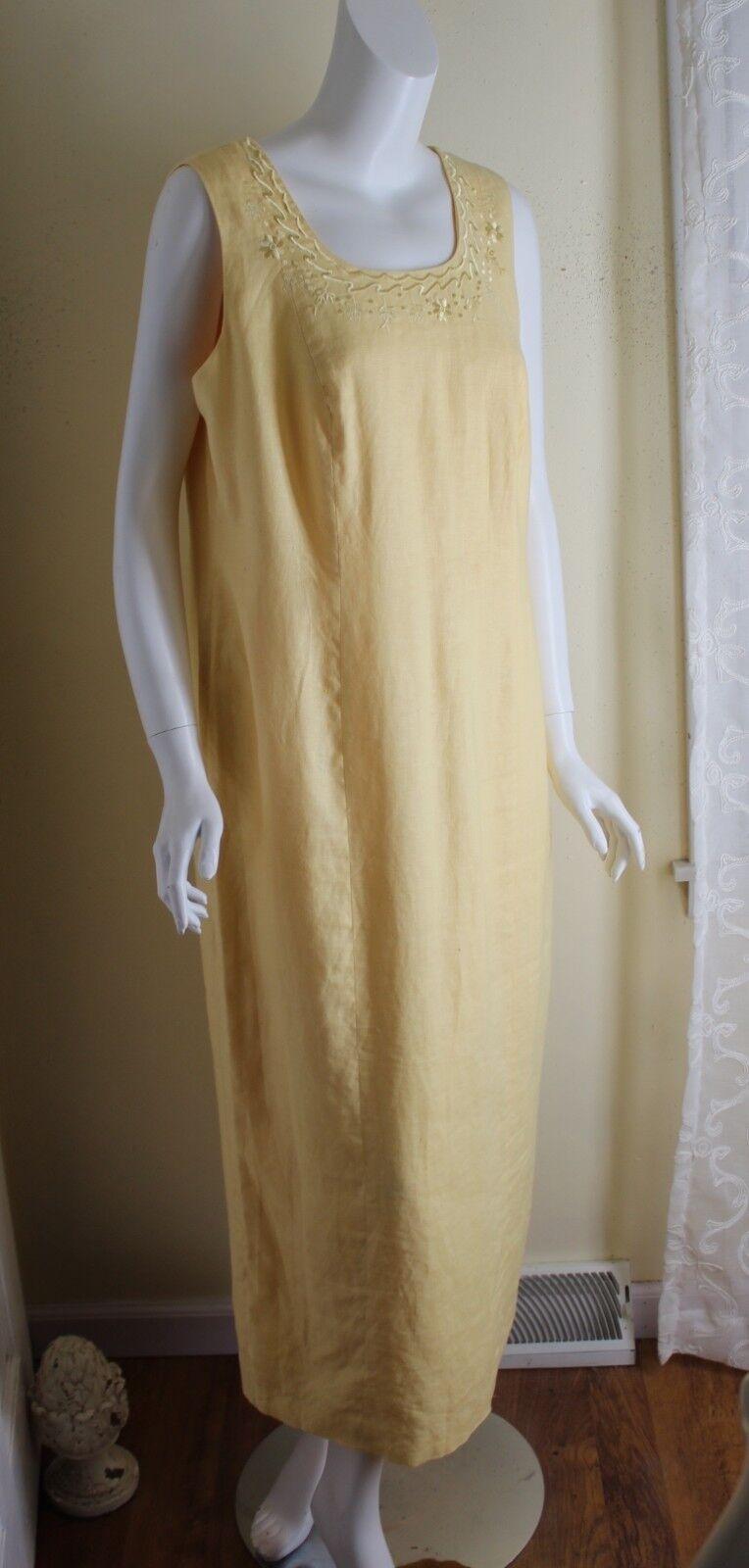 Spenser Jeremy Sz 14 Soft Sunflower Yellow Linen Embroidered Art-to-Wear Dress
