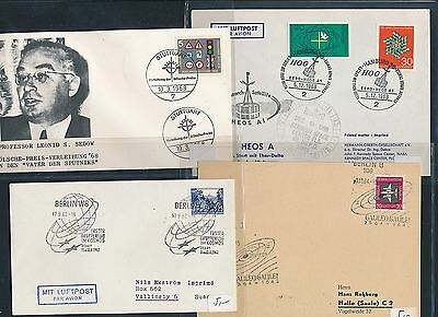 01846 4 Diff Years 195x Weltraum Space Raketen Cds / Covers / Fdc 196x