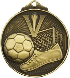 Soccer-3D-52mm-antique-Gold-Medal-Engraved-Ribbon-FREE