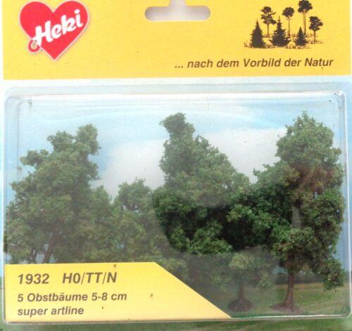 Neu 5-8 cm 5 Obstbäume H0 // TT // N Heki 1932 Bäume Laubbäume
