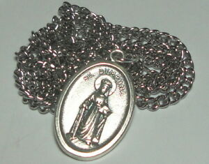 Sterling Silver St Dymphna Medal Antique Reproduction Patron of mental Illness