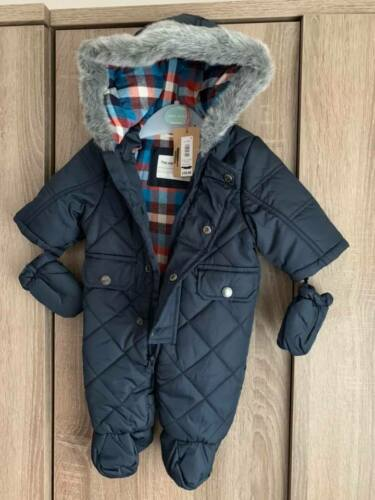 NEW-Baby Boys Navy Blue Quilted Snowsuit With Detachable Mittens