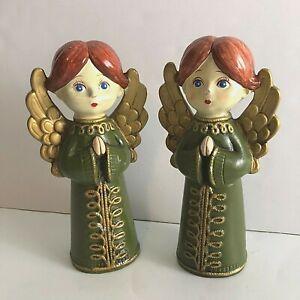 "2 Vtg Mid Century 1960s CHRISTMAS ANGELS Papier-Mache Made JAPAN Green Gold 7.5"""