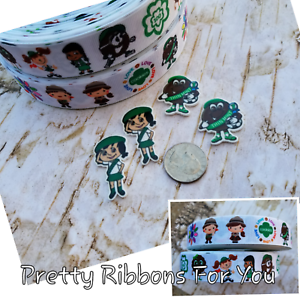 "Girl Scouts 1/"" grosgrain ribbon listing is for 3 yards each style and 4 resins"
