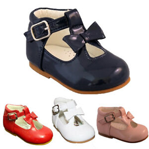 BABY-TODDLER-GIRLS-SEVVA-SPANISH-PATENT-T-BAR-BOW-PARTY-WEDDING-SHOES-UK-2-6