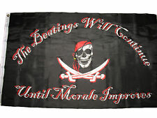 3x5 Jolly Roger Pirate Beatings will Continue Until Morale Improves Flag 3'x5'