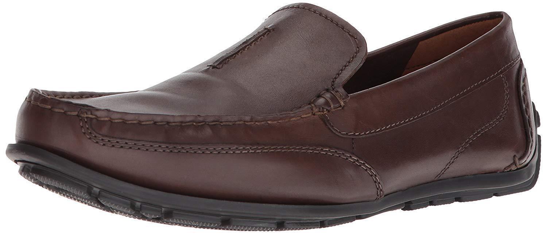 NEUF pour HOMME Clarks Marron Mocassins à Enfiler Cuir Décontracté Chaussures