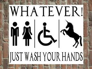 Gender Neutral Toilet Bathroom Wall Sign Plaque Unicorn Bar Sign Wash Your Hands