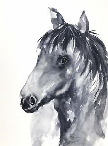 BLACK-HORSE-WATERCOLOUR-PAINTING-BY-DIANE-ANTONE-UNIQUE-ART