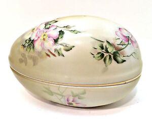 Nippon-Porcelain-Egg-Vintage-Hand-Painted-Trinket-Box-5-5-in-Long-Gold-Trim