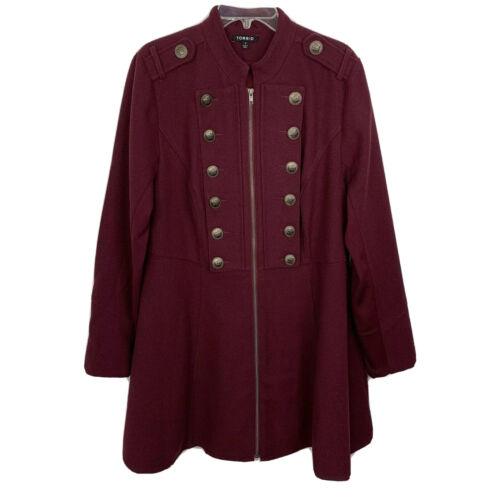 TORRID Long Military Coat 1X Women's Plus Deep Mer