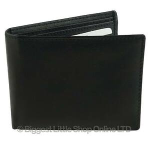 NEW-Mens-Gents-Soft-Black-LEATHER-Bi-fold-WALLET-Top-Quality-Handy-Coin-Pocket