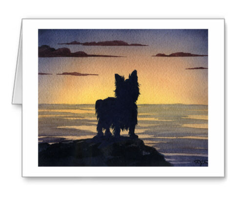 YORKSHIRE TERRIER SUNSET Set of 10 Note Cards With Envelopes