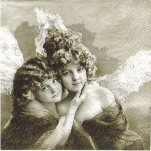 black and white 4 Single paper decoupage napkins Sagen -507 Vintage angels