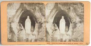 Gruta de Lourdes Estatua de La Virgen Foto Estéreo Vintage Albúmina c1870