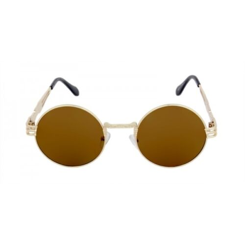 OVERSIZED ROUND CLASSIC LUXURY SUNGLASSES LENNON CIRCLE STEAMPUNK HIP HOP BROWN