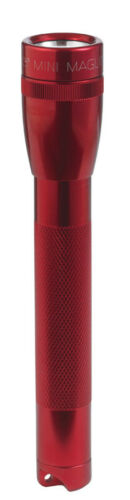 Maglite Mini 14 lumens Red Incandescent Flashlight//Holster Combo Pack AA Battery