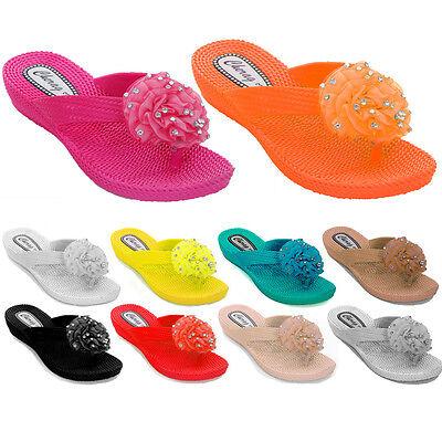 Para Mujer Flip Flop Corsage Tacón Bajo Diamante Flor señoras Confort Sandalias