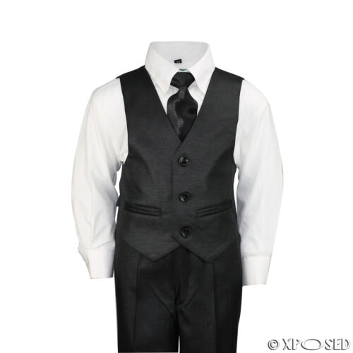 New Kids Page Boys 3 Piece Black Tuxedo Suit Wedding Party Formal Age 2-12 Year