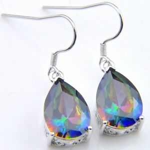 Awesome-Teardrop-Shaped-Natural-Rainbow-Mystic-Fire-Topaz-Silver-Dangle-Earrings