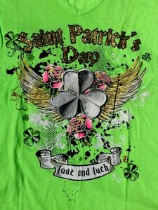 Bright Neon Green Sparkle Glitter V Neck Cap Sleeve T Shirt St Pats LOVE & LUCK