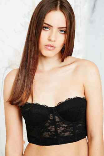 00cd15ff7441a ... Structured Longline Lace Bralette Bra sold by Urban Outfitters - Black  - 34A New