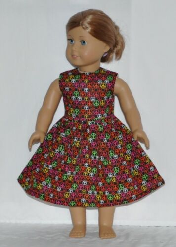 Black Multi COlor Tiny Peace Sign Doll Dress Clothes Fits American Girl Dolls