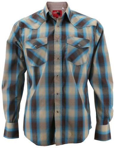 Rodeo Clothing Men/'s Authentic Cowboy Plaid Pearl Snap Button Western Shirt