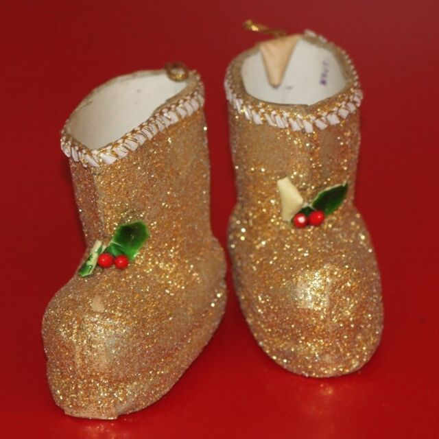 Vintage Christmas Candy Container Boots  Ornament Gold Santa Japan Cardboard