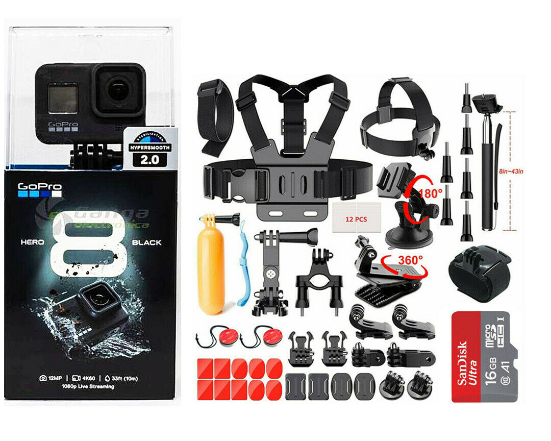 NEW SEALED GoPro Hero 8 Black Waterproof Action Camera CHDHX801 With Sport kits action black camera chdhx801 gopro hero new sealed waterproof with