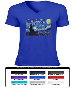 Vincent-van-Gogh-Vase-with-The-Starry-Night-Mens-Women-Unisex-V-Neck-Tee-T-Shirt