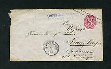 Württemberg GA 3 Kreuzer, Postablage Enzweihingen. Vignette rückseitig  (EB-17)