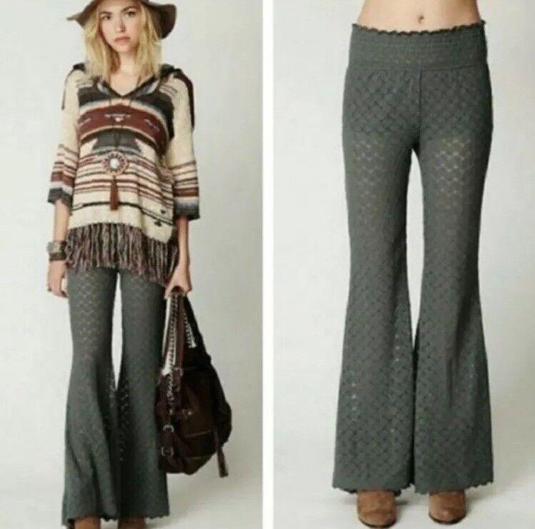 Free People Olive Malibu Lace Flared Pants