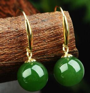 10mm-Natural-Green-Jadeite-Round-Gemstone-14k-Gold-Plated-Hook-Dangle-Earrings