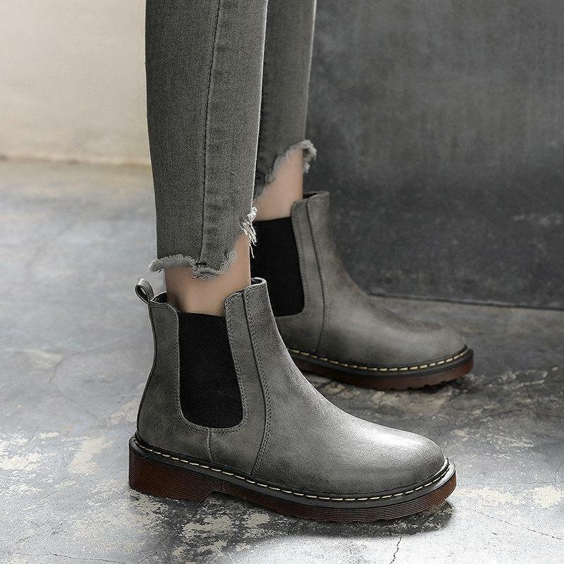 Women's pull on chelsea boots Ankle Boots Leather Low Heel Party shoes Casual