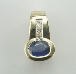 Schoener-585er-Gold-Anhaenger-Saphir-Diamanten-Edelstein-14-Karat-Gelbgold-4-25g