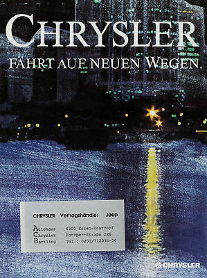 Chrysler Poster-prospekt 1990 Autoprospekt Gs Turbo 2 Lebaron Es Gts Wrangler