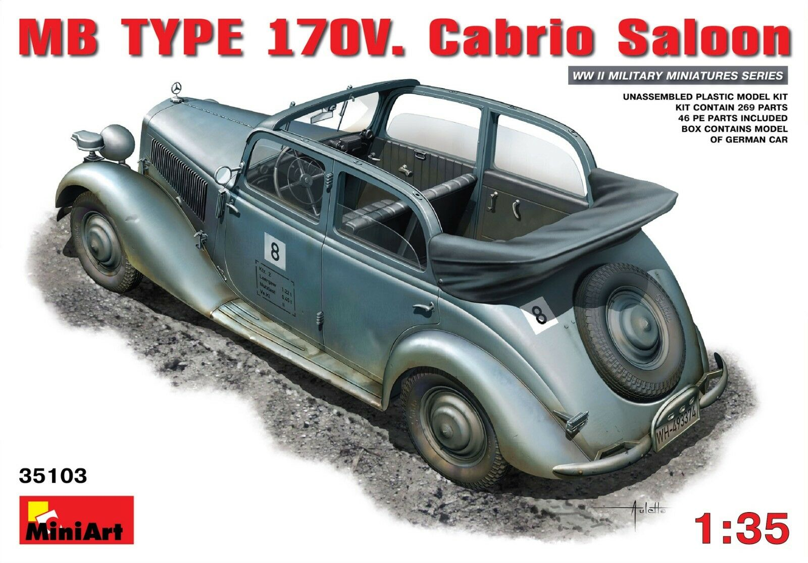 MB TYPE 170V Cabrio Saloon WWII (Plastic Model Kit) 1 35 MiniArt  35103
