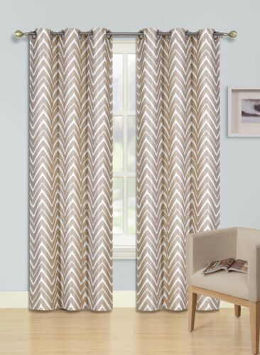 1PC BETH TAUPE ZIG-ZAG Printed Grommet Panel Window Curtain Lined Blackout