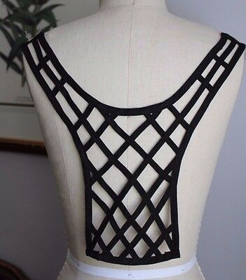 "13.5"" Long Lattice Open Work BACK Neckline Applique - BLACK"