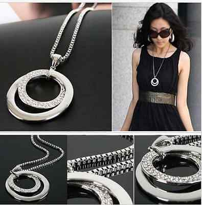 Women Fashion Crystal Rhinestone Silver Plated Pendant Necklace Gift Long Chain